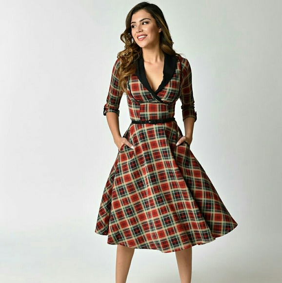 e0e361a15 1950s Style Red Plaid Trudy Swing Dress